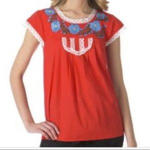 Tracy Feith Red Embroidered Shirt XL Target